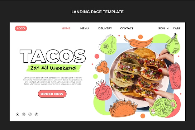 Целевая страница мексиканской кухни в плоском дизайне