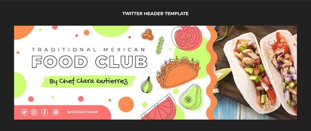 Плоский дизайн заголовка twitter мексиканской кухни