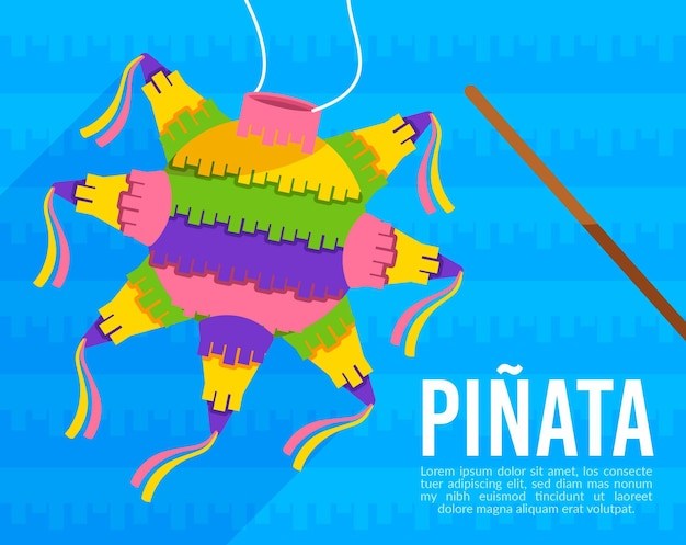 Flat design mexican posada pinata with candies