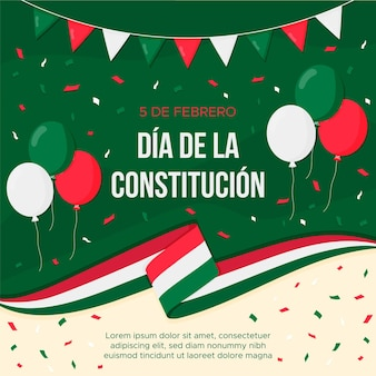 Flat design mexico constitution day background