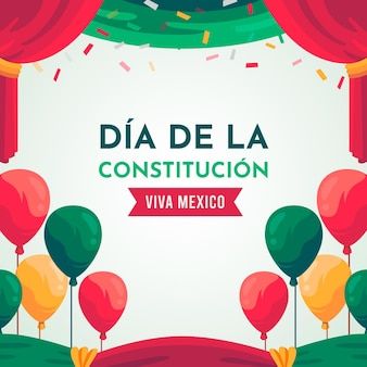 Flat design mexico constitution day balloons