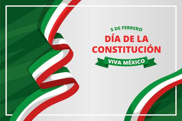 Flat design mexico constitution day