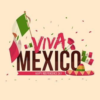 フラットなデザインのメキシコ独立記念日のテーマ