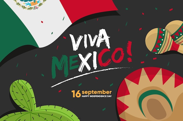 Flat design mexico independence day
