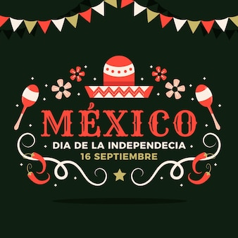 Flat design mexico's independence