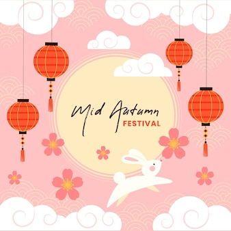 Flat design mid-autumn festival bunnies and lantern