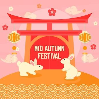 Flat design mid autumn festival concept