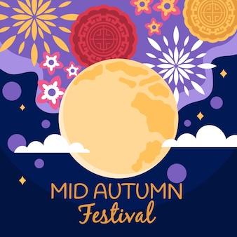 Плоский дизайн в стиле фестиваля середины осени