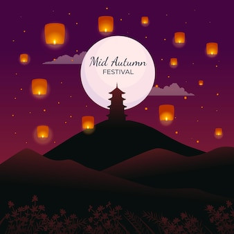 Flat design mid-autumn festival with lanterns