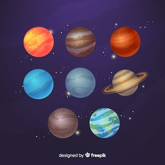 Flat design milky way planet collection