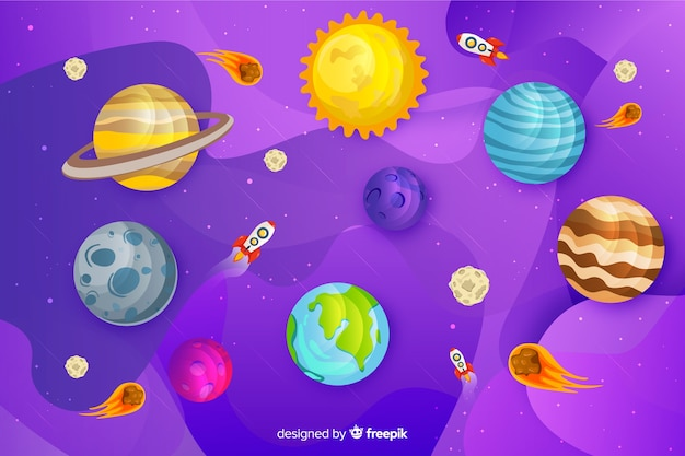 Flat design milky way planets set