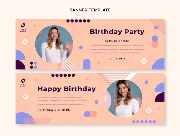 Flat design minimal birthday banners horizontal
