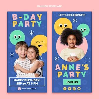 Pacchetto di banner di compleanno minimal design piatto
