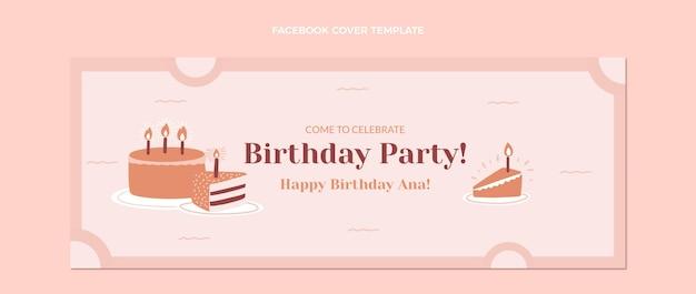 Плоский дизайн минимальной обложки для дня рождения facebook