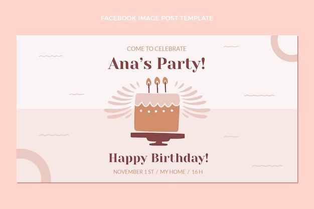 Flat design minimal birthday facebook post