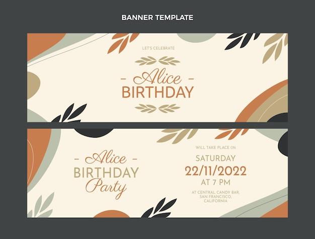 Flat design minimal birthday horizontal banners