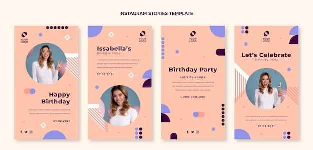 Плоский дизайн минималистичный день рождения ig рассказы