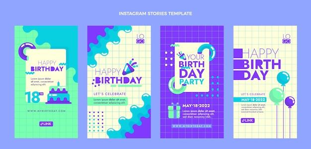 Storie di compleanno minimal design piatto ig