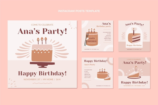 평면 디자인 최소한의 생일 인스타그램 게시물