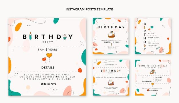 Плоский дизайн минимальных постов в instagram с днем рождения