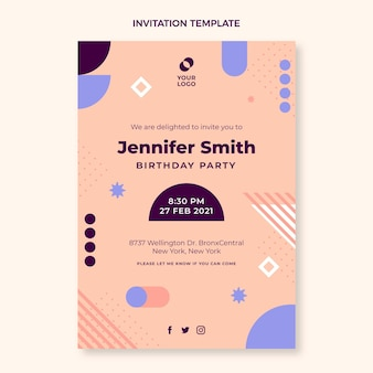 フラットなデザインの最小限の誕生日の招待状