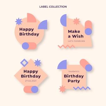 フラットデザインの最小限の誕生日ラベルとバッジ