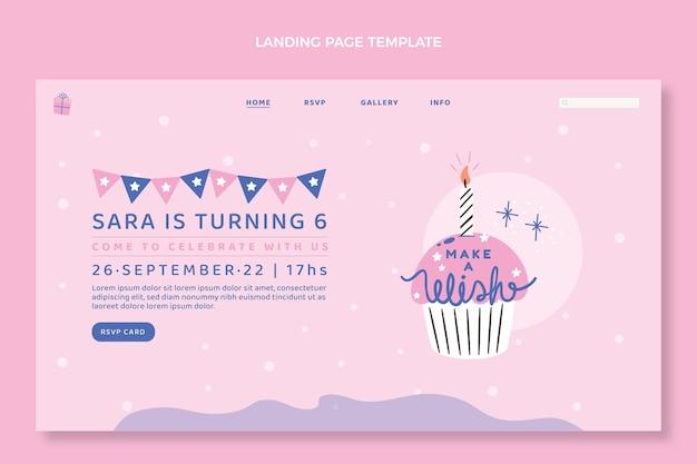 Pagina di destinazione minima per il compleanno di design piatto
