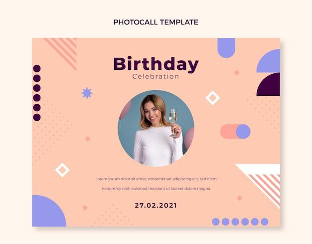Photocall di compleanno minimo dal design piatto