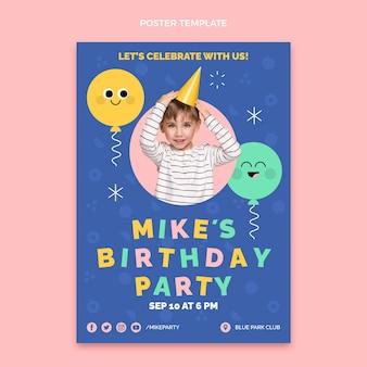 フラットなデザインの最小限の誕生日のポスター