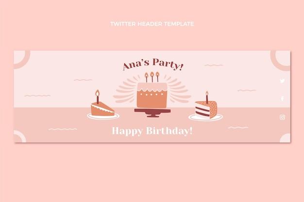 Flat design minimal birthday twitter header