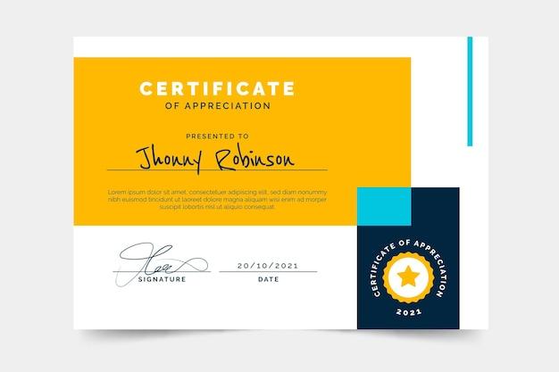Design piatto del modello di certificato minimo