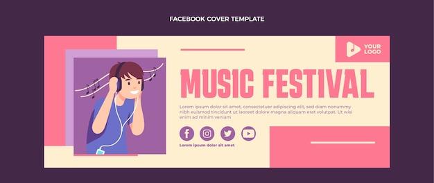 Flat design minimal music festival facebook cover