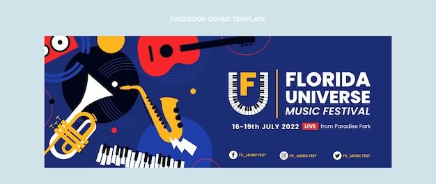 Плоский дизайн минималистичный музыкальный фестиваль обложка facebook