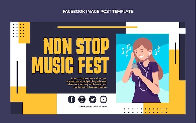평면 디자인 최소한의 음악 축제 페이스북 포스트