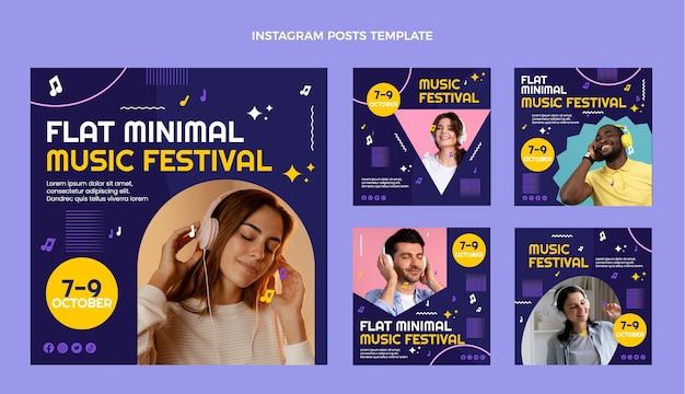 Плоский дизайн минималистичный музыкальный фестиваль посты в instagram