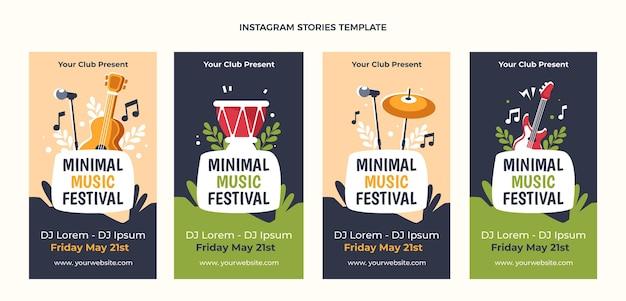 Flat design minimal music festival instagram stories