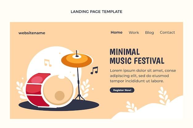 Pagina di destinazione del festival di musica minimale dal design piatto