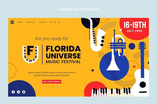 フラットデザインのミニマルミュージックフェスティバルのランディングページ