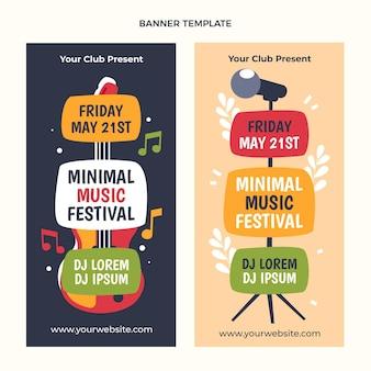Плоский дизайн минимальный музыкальный фестиваль вертикальные баннеры
