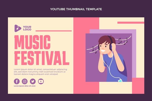 Плоский дизайн минималистичный музыкальный фестиваль на youtube