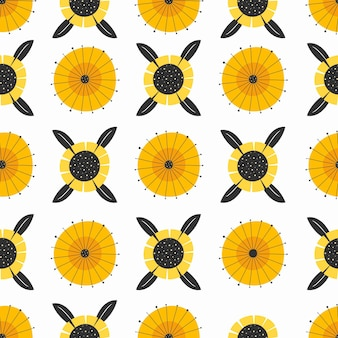 Flat design minimal sunflower pattern