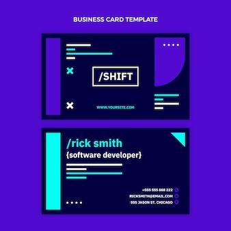 Плоский дизайн минималистичная технология горизонтальной визитной карточки