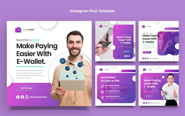 Flat design minimal technology instagram posts