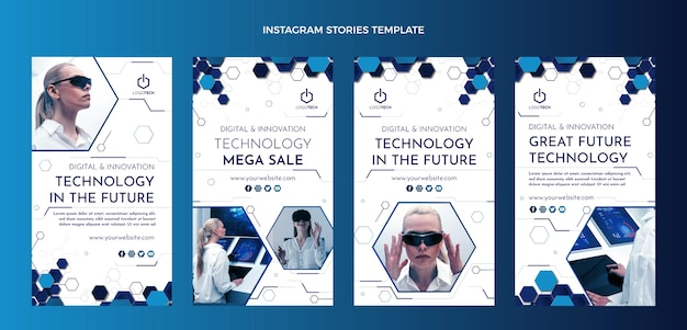 Flat design minimal technology instagram stories