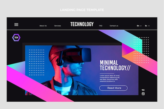 평면 디자인 최소한의 기술 방문 페이지