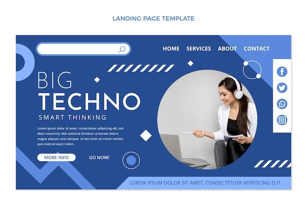 Flat design minimal technology landing page