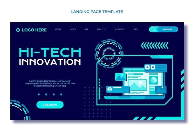 フラットデザインのミニマルテクノロジーのランディングページ