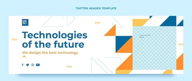 Плоский дизайн минималистичный технологический заголовок twitter