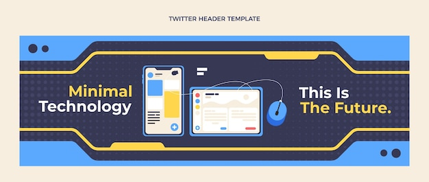 Flat design minimal technology twitter header