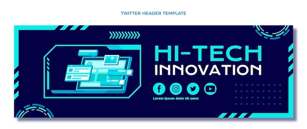 Intestazione twitter con tecnologia minimale dal design piatto